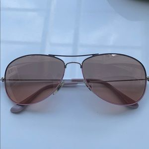 Ray-Ban Silver and Pink Frame Aviators w Rose Lens